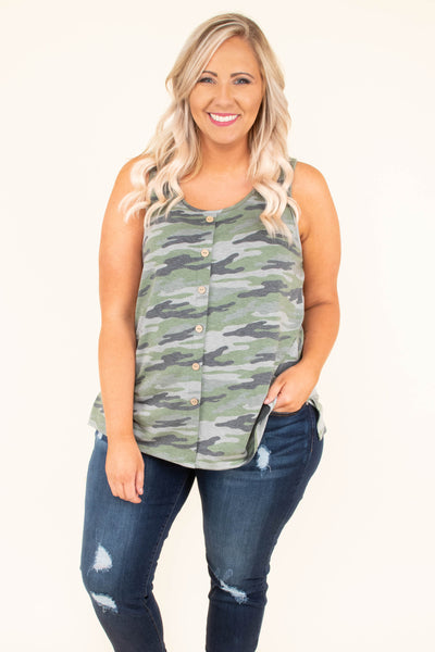 tank, scoop neck, button down, curved hem, green, camo, comfy, loose, spring,. summer