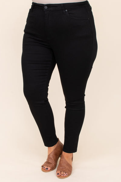 jeans, solid, bottoms, black, neutral. pockets, long, ankle length
