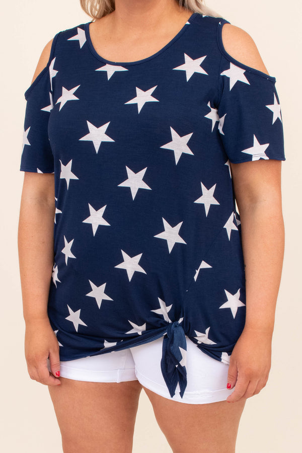 shirt, short sleeve, cold shoulder, tie hem, loose, navy, stars, white, comfy