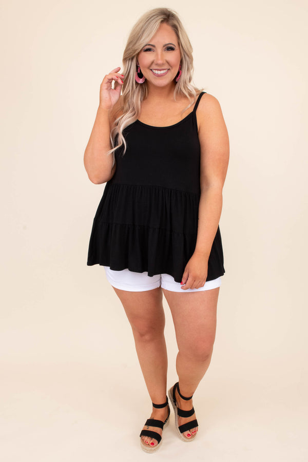 tank, spaghetti straps, scoop neck, long, flowy, babydoll, tiered, comfy, black, spring, summer