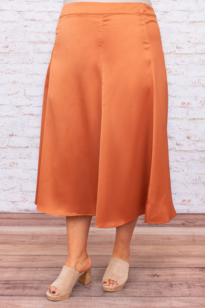 midi length, figure flattering, shiny, flare, solid, skirt, comfy