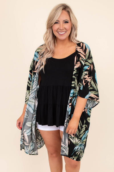 kimono, three quarter sleeve, long, flowy, black, floral, peach, green, blue, outerwear, spring, summer