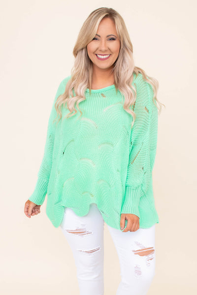 sweater, long sleeve, wavy hem, loose knit, mint, comfy, bright
