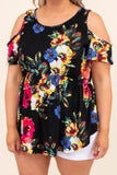 tunic, short sleeve, cold shoulder, thick straps, babydoll, curved hem, long, black, floral, blue, fuchsia, yellow, white, green, comfy