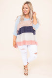 sweater, three quarter sleeve, vneck, cuffed sleeves, longer back, comfy, blue, blush, navy, white, colorblock