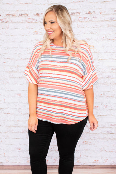 top, short sleeve, flowy, stripe. orange, blue, pink, ruffle sleeve, spring, summer, twist back