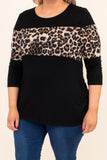 shirt, three quarter sleeve, curved hem, loose, colorblock, black, brown, leopard, comfy