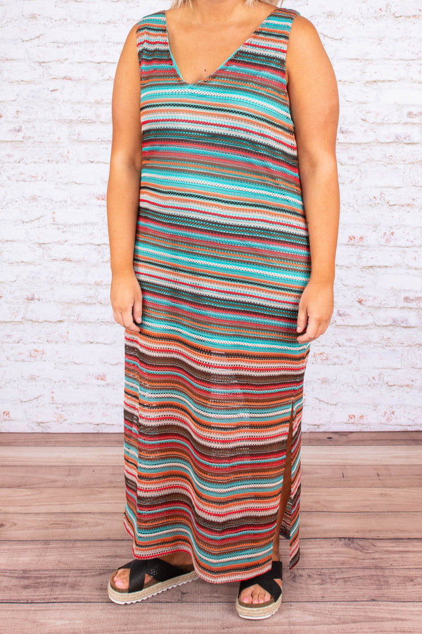 dress, maxi, sleeveless, vneck, flowy, green, white, orange, red, brown, striped
