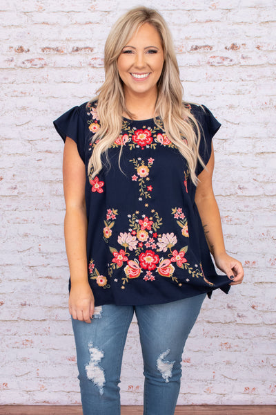 top, casual top, blue, navy, embroidered, short sleeve, flowers