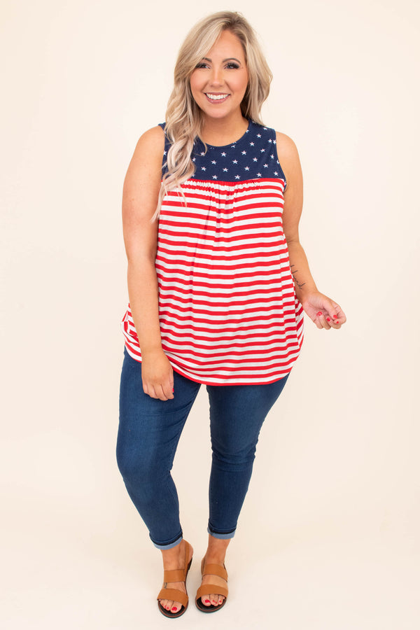 tank, thick straps, pleated bust, curved hem, long, flowy, red, white, striped, navy neckline, stars, comfy, summer