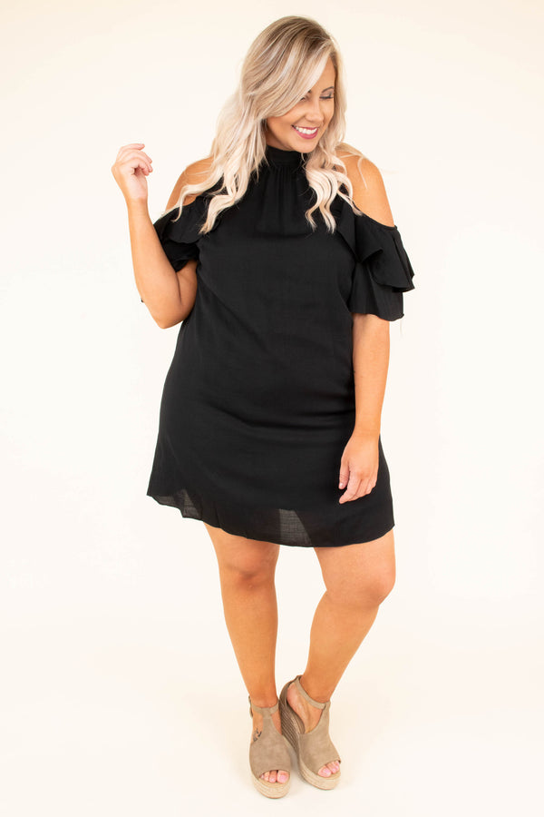dress, special occasion, cold shoulder, ruffles, black, mini