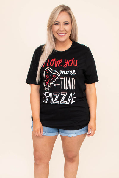 tshirt, short sleeve, black, graphic, i love you more than pizza, pizza, hearts, white, red, comfy, valentines