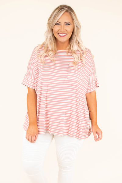 shirt, short sleeve, cuffed sleeves, chest pocket, curved hem, flowy, blush, white, striped, comfy
