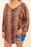 top, casual top, leopard, brown, long sleeve, curved hem