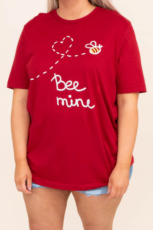 tshirt, short sleeve, graphic, red, bee, heart, bee mine, white, yellow, comfy, valentines