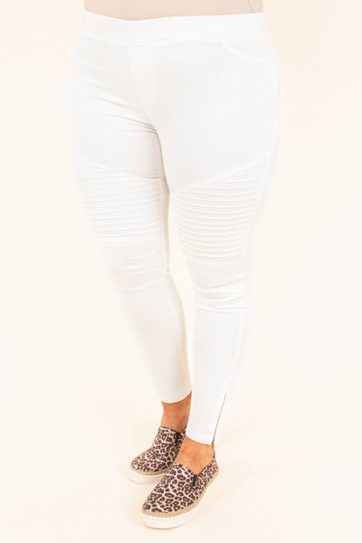 pants, long, zipper side, skinny, white, ribbed details, comfy