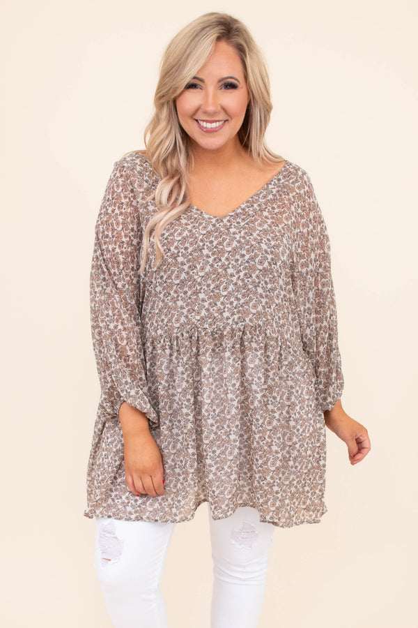 shirt, long sleeve, bubble sleeves, vneck, babydoll, long, flowy, brown, white, floral, comfy