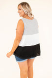 tank, chest pocket, ribbed, flowy, gray, white, black, colorblock, comfy, spring, summer