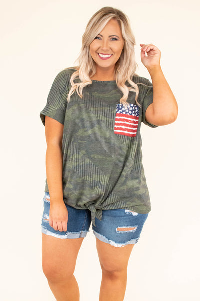 top, short sleeve, tie waist, flag pocket, camo, camouflage, summer