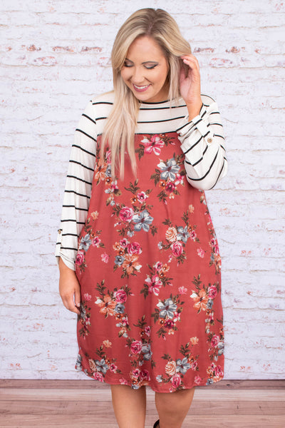 dress, midi, three quarter sleeve, button cuff, flowy, red, floral, pink, blue, green, orange, striped, black, white, colorblock, comfy