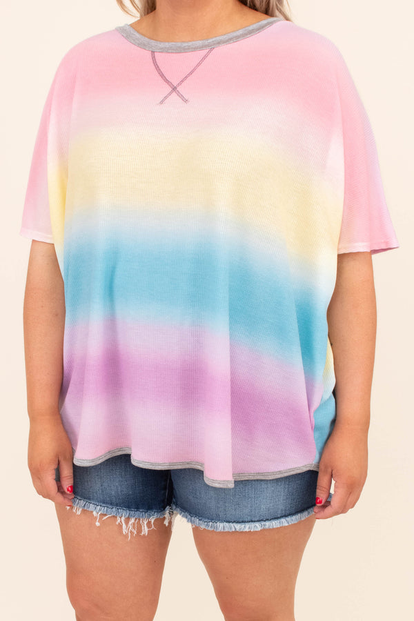 shirt, short sleeve, loose, colorblock, tie dye, red, yellow, blue, purple, comfy