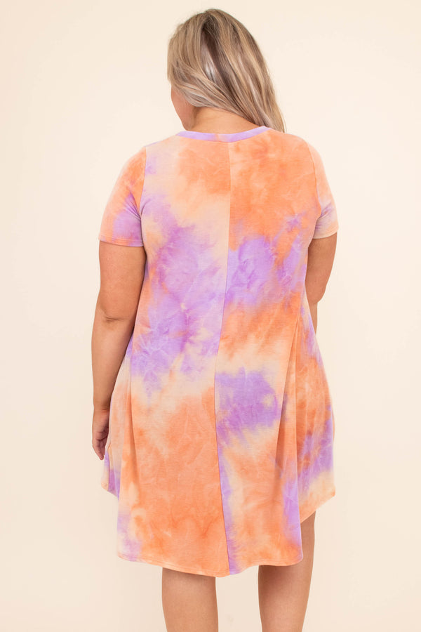top, casual top, tie dye, purple, orange, yellow, short sleeve