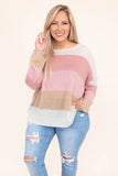 sweater, long sleeve, long, loose, white, pink, tan, colorblock, comfy