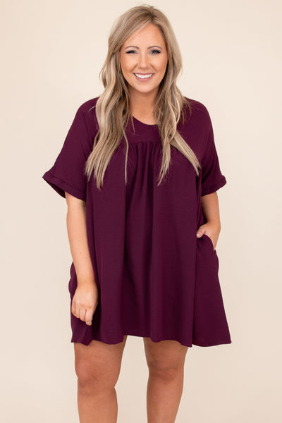dress, eggplant, purple, babydoll dress, solid, short
