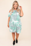 dress, tie dy,e mint, off the shoulder, cold shoulder, figure flattering, round neck, above the knee, short