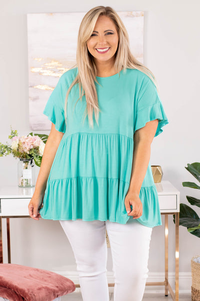 tunic, short sleeve, ruffle sleeves, babydoll, flowy, tiered, long, mint, comfy, spring, summer