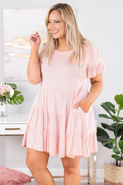 dress, short, short sleeve, pockets, babydol, tiered, ruffle sleeves, flowy, blush, comfy, spring, summer