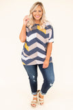 tunic, short sleeve, fitted hem, navy, yellow, white, tan, brown, chevron, comfy