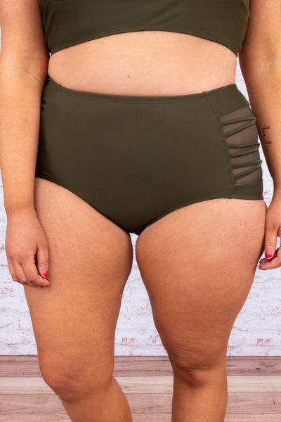 swimsuit, bottom, high waist, mesh side panels, crisscross details, olive