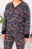 shirt, loungewear, long sleeve, vneck, quarter button down, black, love, hearts, white, red, comfy, valentines