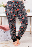 pants, loungewear, long, black, love, hearts, white, red, comfy, valentines