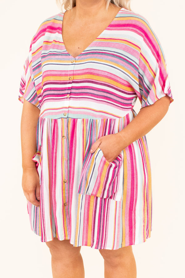 dress, short dress, short sleeve, stripes, button front, v neck, pink, white, orange, blue, loose, pockets, comfy, spring, summer