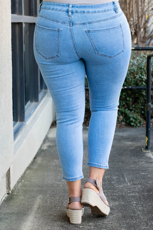 jeans, skinny, cropped, light blue, faded
