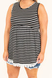 top, tank top, black, white stripe, lace detail, baby doll fit