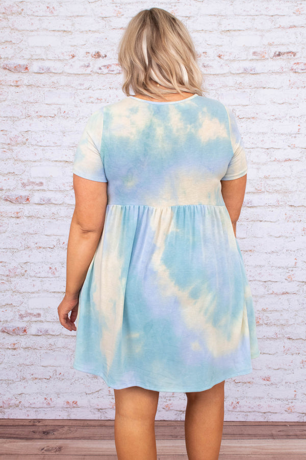 dress, baby doll, tie dye, jade, blue, green, yellow, short sleeve, loose, comfy, short