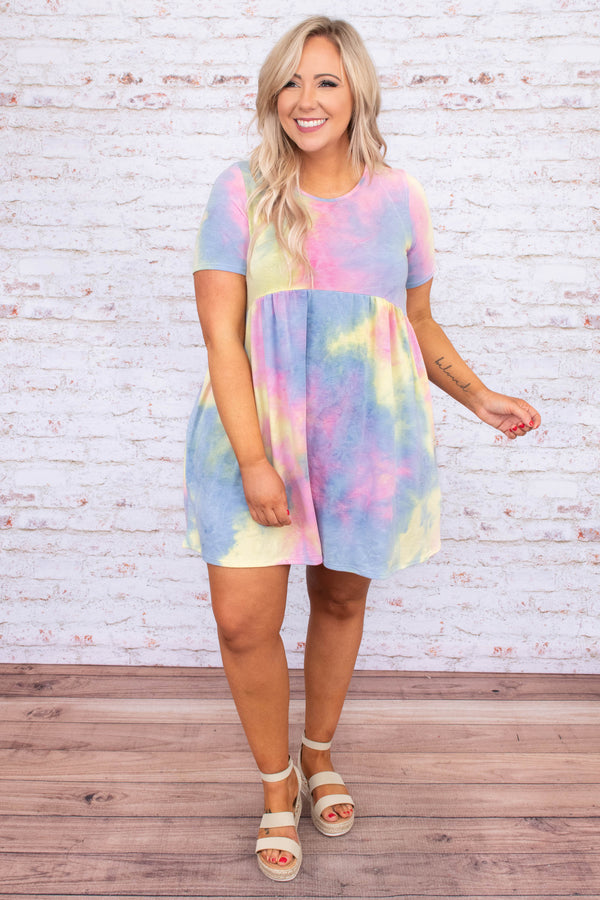 dress, short, short sleeve, babydoll, pockets, flowy, tie dye, pink, blue, yellow, comfy, spring, summer