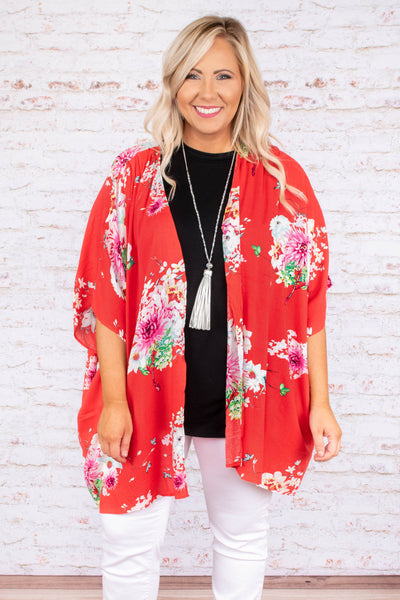 kimono, short sleeve, long, flowy, red, floral, pink, white, green, comfy, thin, spring, summer