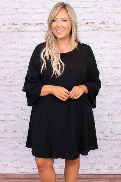 dress, special occasion, party, black, solid, flutter sleeve, flowy