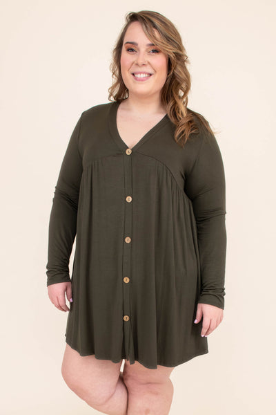 dress, short, long sleeve, vneck, button down, flowy, olive, comfy, fall, winter