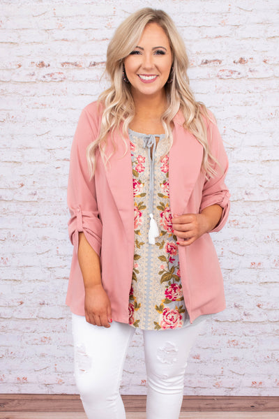 jacket, three quarter sleeve, button sleeves, lapel, loose, structured, comfy, mauve, outerwear