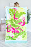 Flocking Flamingos Beach Towel, Aqua