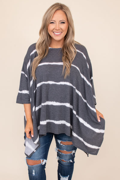 tunic, flowy, casual, striped, white, grey, tie dye, mid length sleeve