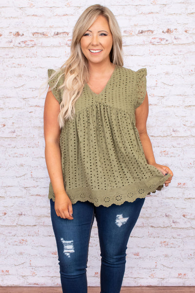 top, casual top, babydoll top, green, olive, lace, flutter sleeve