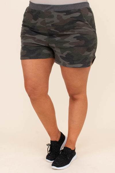 shorts, loungewear, pockets, curved hem, fitted, elastic waist, green, camo, comfy