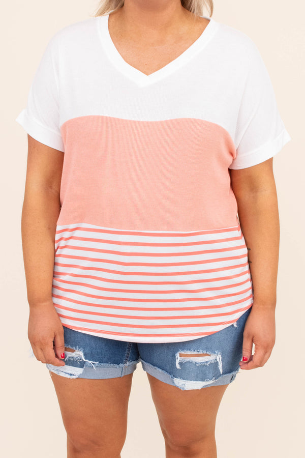 shirt, short sleeve, vneck, curved hem, loose, cuffed sleeves, colorblock, coral, white, stripes, comfy