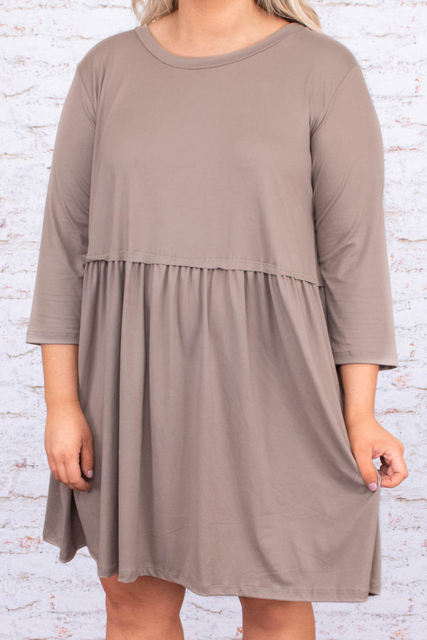 dress, short, three quarter sleeve, babydoll, flowy, comfy, longer back, mocha